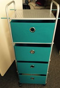 Four-drawer cart with turquoise drawers